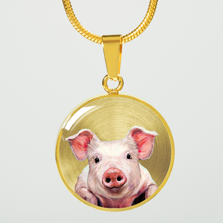 18K Gold Pig Pendant Necklace