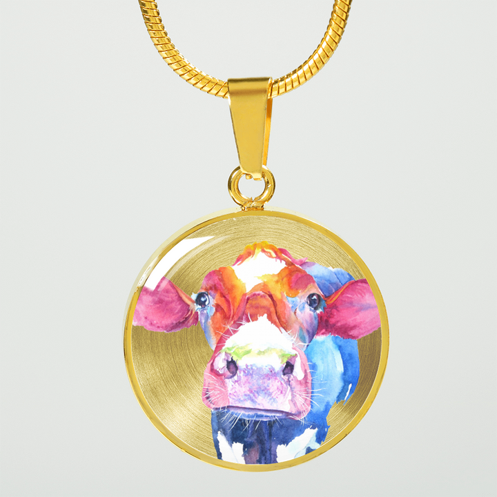 Colorful cow 18k gold pendant necklace barnyard bliss colorful cow 18k gold pendant necklace aloadofball Gallery