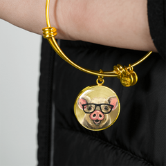 Pig W/ Glasses 18K Gold Bangle Bracelet