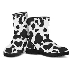 Cow Print Fur Boots