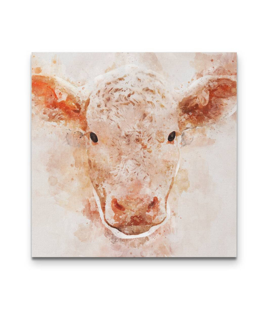 Watercolor Cow Face Canvas