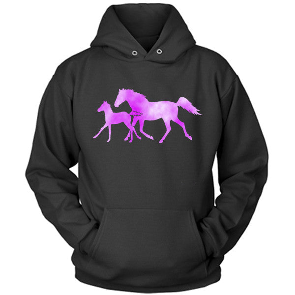 Colorful Horse and Foal black hoodie