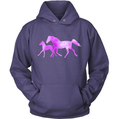 Colorful Horse and Foal purple hoodie