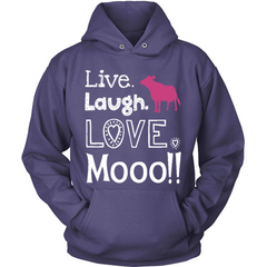 Live Laugh Love Moo purple hoodie