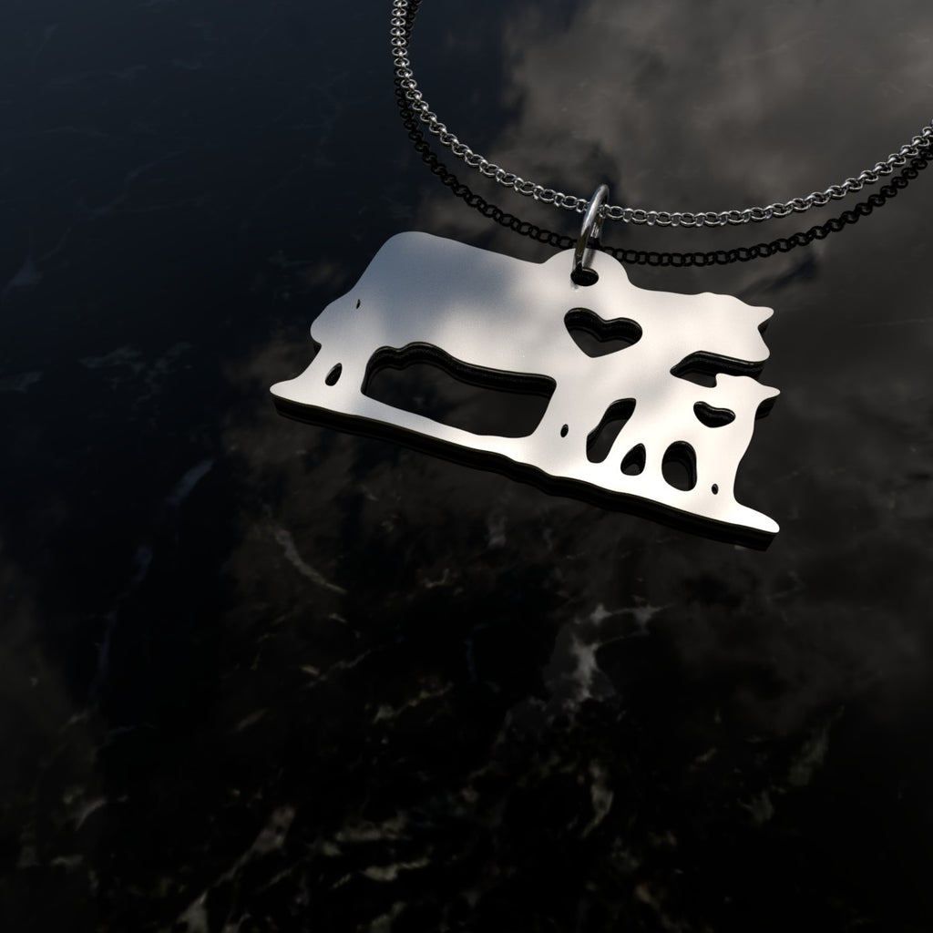 Cow & Calf Heart Pendant Necklace