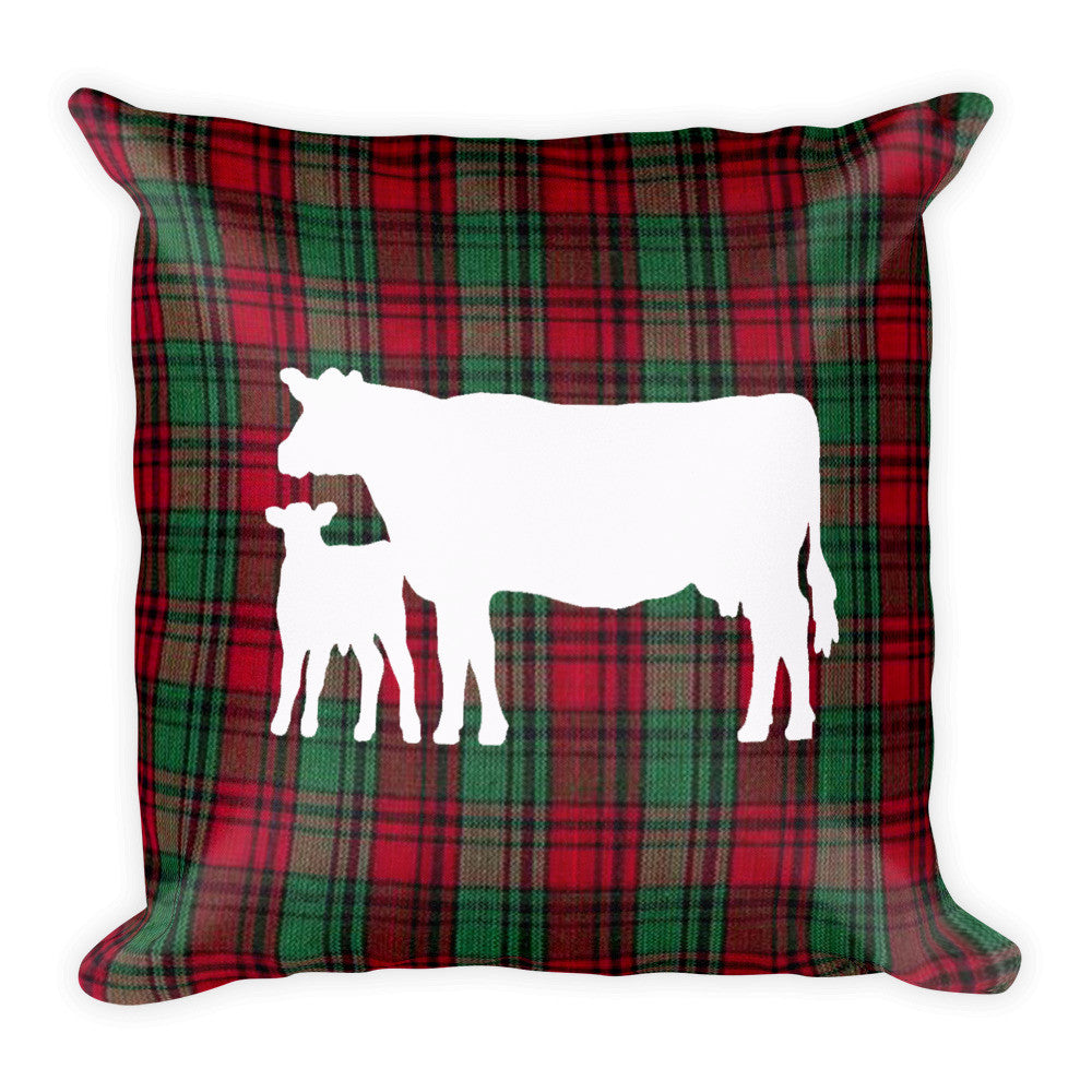 Plaid Cow Pillow
