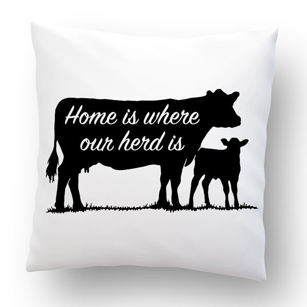 Home Is Where Our Herd Is Throw Pillow