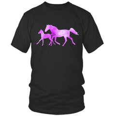 Colorful Horse and Foal black t shirt