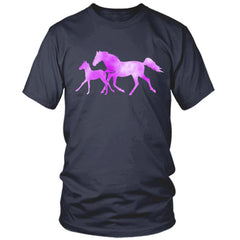 Colorful Horse and Foal navy t shirt
