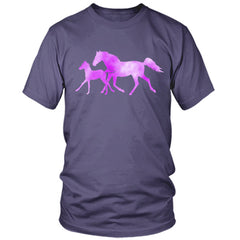 Colorful Horse and Foal purple t shirt