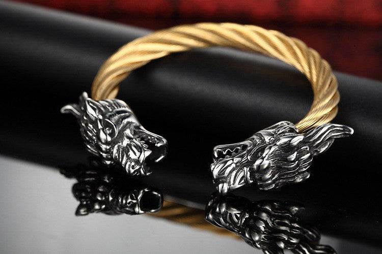 Accessory Offer - Stainless Steel Dragon Bangle For Men
