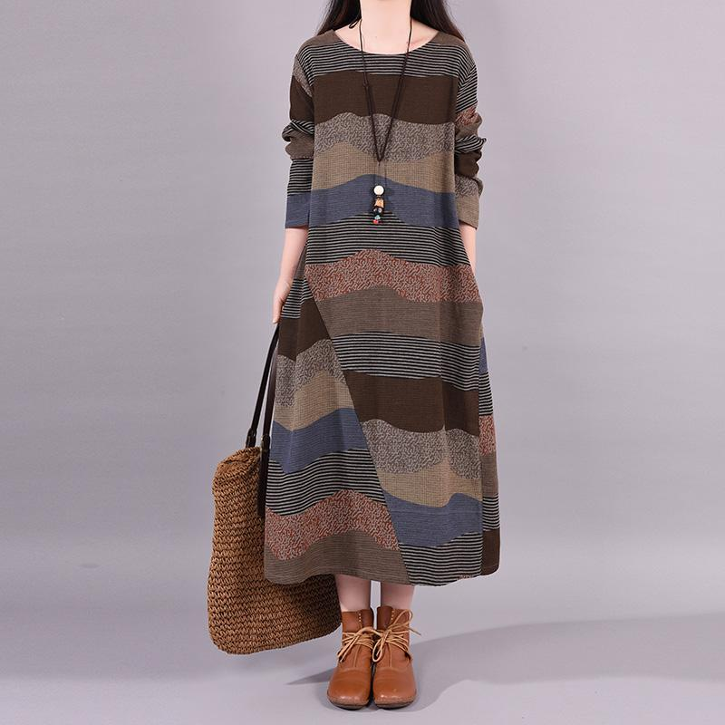 Buykud Wavy Colorful Stripes Retro Elegant Loose Dress