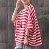 Hand-Made Cotton Striped Round Neck Casual Blouse