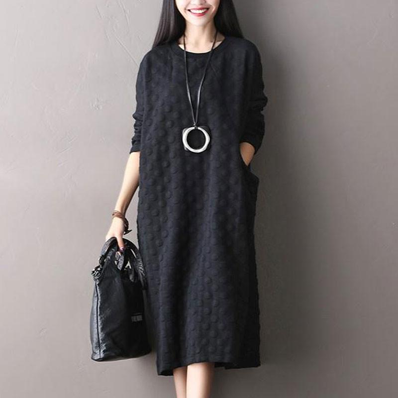 Polka Dot Stretch Cotton Long Sleeved Dress - Buykud