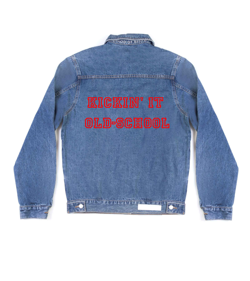 Method of Denim Jacket Kickin' it old-school Denim Jacket (4559658188886)