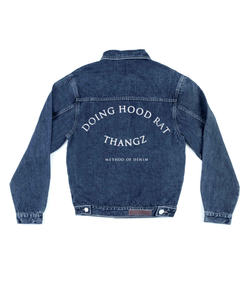 Method of Denim Mens Jackets Doing Hood Rat Thangz - Custom Denim Jacket