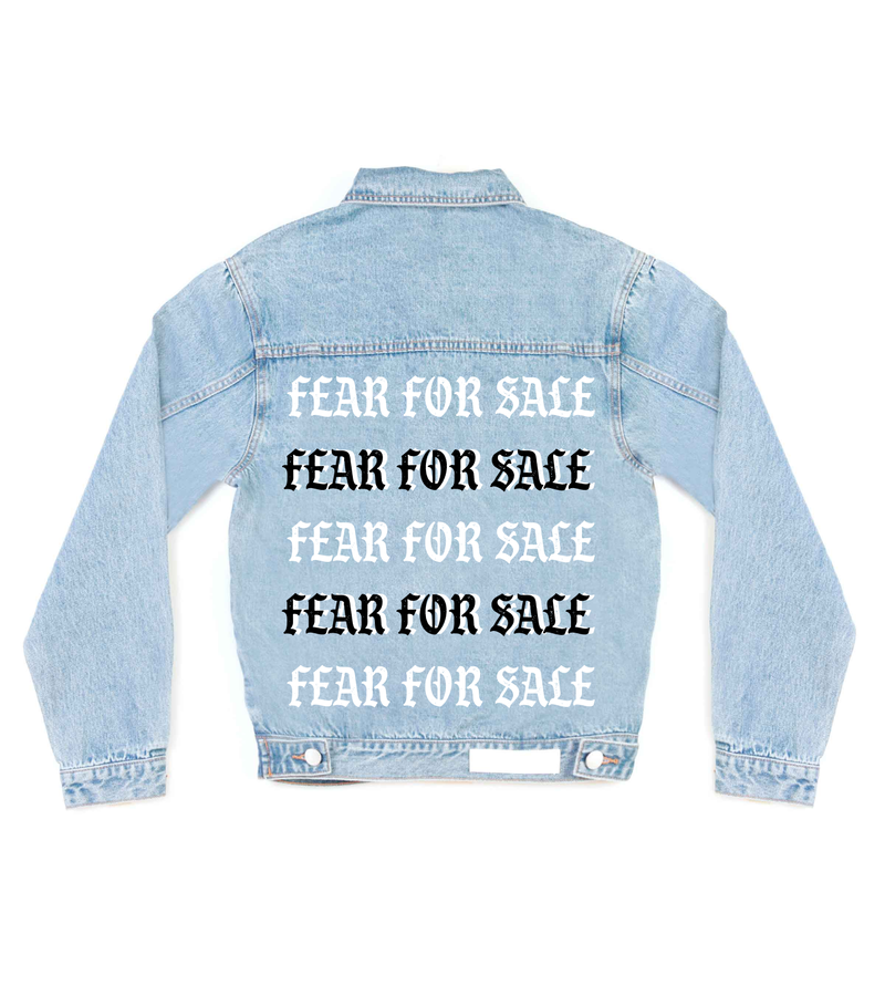 Method of Denim Mens Jackets Fear For Sale Denim Jacket (4563287933014)