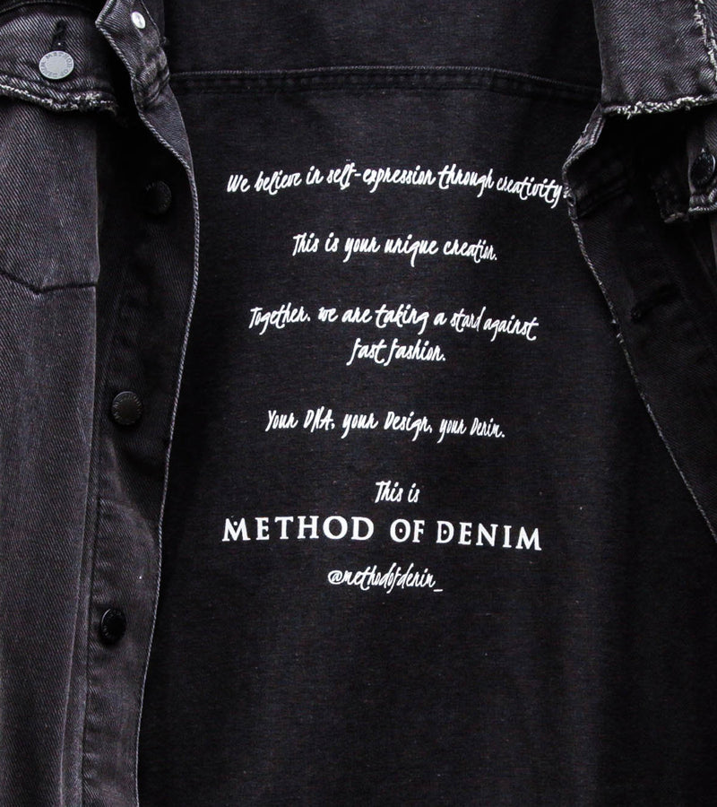 Method of Denim Mens Jackets Poison Vintage Trucker Denim Jacket - Washed Black