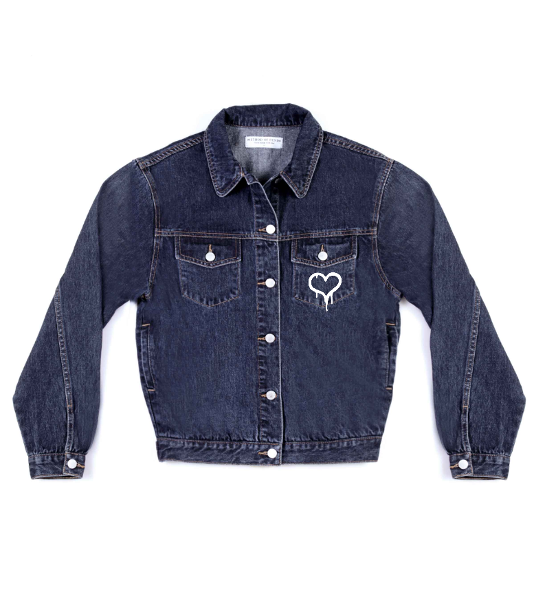 Method of Denim Our Designs Jackets (women) Bleeding Heart - Custom Denim Jacket