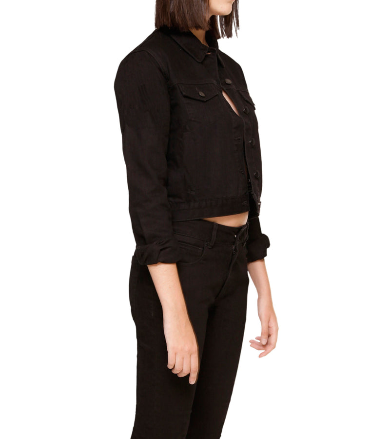 Method of Denim Womens Jackets Cut her off Jacket - Black (1328102342742)