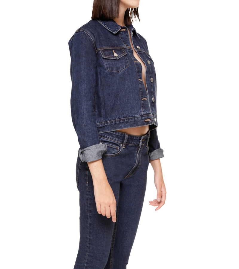 Method of Denim Womens Jackets Cut her off Jacket - Indigo (1328102375510)