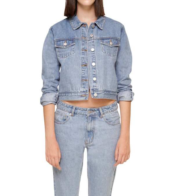 Method of Denim Womens Jackets Cut her off Jacket - Light Blue