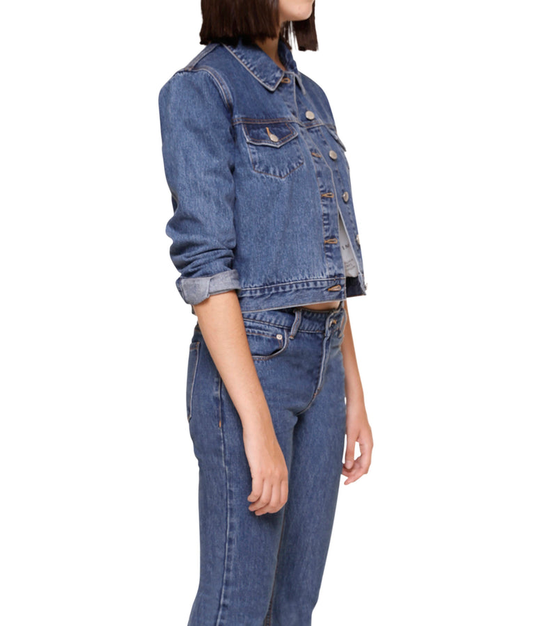 Method of Denim Womens Jackets Cut her off Jacket - Vintage Blue (1328102408278)