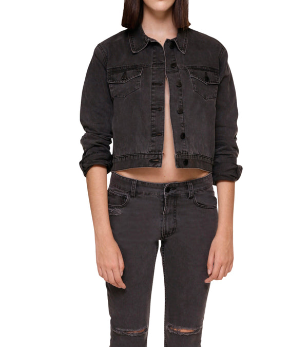Method of Denim Womens Jackets Cut her off Jacket - Washed Black