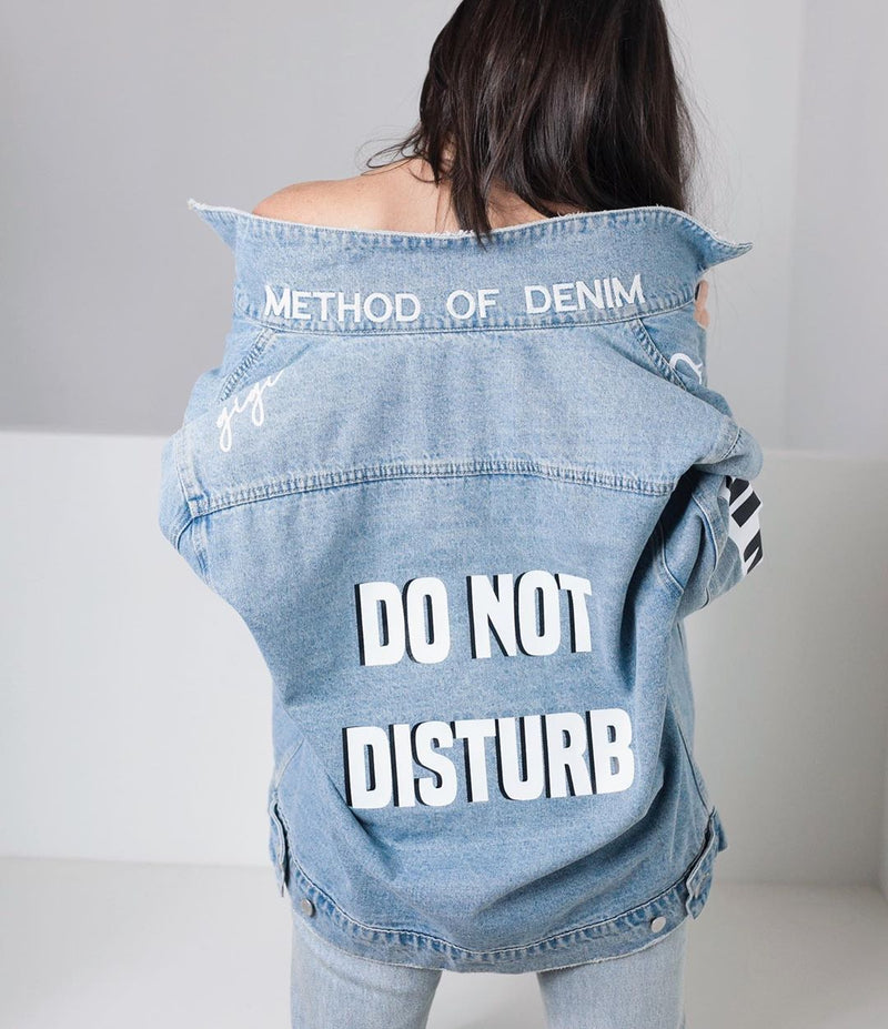 Method of Denim Womens Jackets Double Up Distressed Denim Jacket - Light Blue