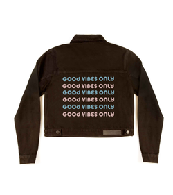 Method of Denim Womens Jackets 'Good Vibes Only' Denim Jacket (4570054000726)