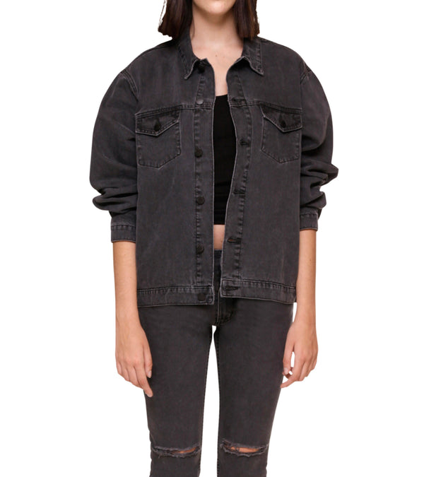 Method of Denim Womens Jackets J Bomb Vintage Jacket - Washed Black (1384430141526)