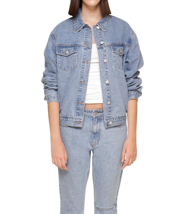 Method of Denim Womens Jackets 'Monogram' Light Blue Denim Jacket (4566194094166)