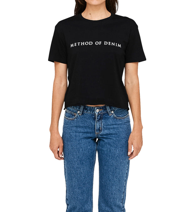 Method of Denim Womens Tees Method of Denim Raw Edge Cropped Short Sleeve T-Shirt Black