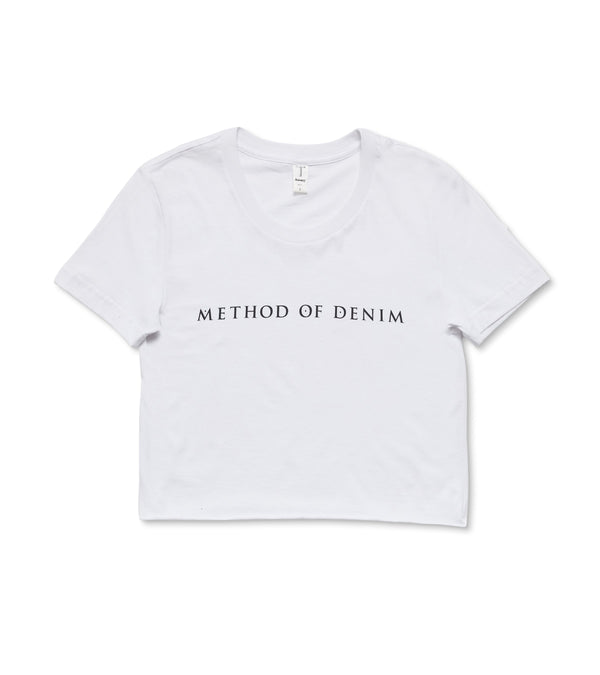 Method of Denim Womens Tees Method of Denim Raw Edge Cropped Short Sleeve T-Shirt White