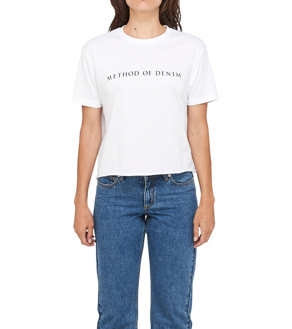 Method of Denim Womens Tees Method of Denim Raw Edge Cropped Short Sleeve T-Shirt White (1380935073878)