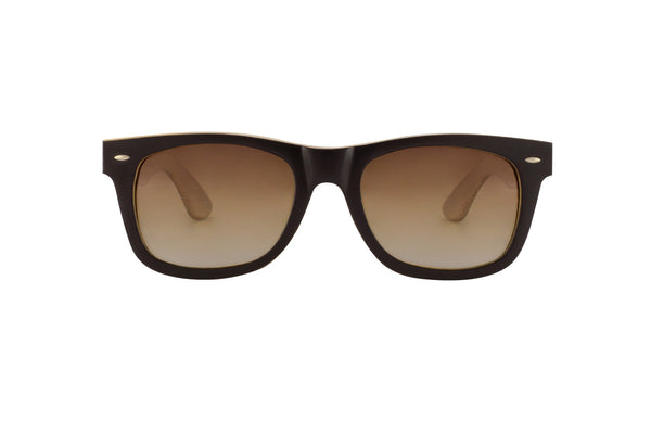 #191919 Black and Natural Bamboo wood Sunglasses that float and have amber polarized lenses