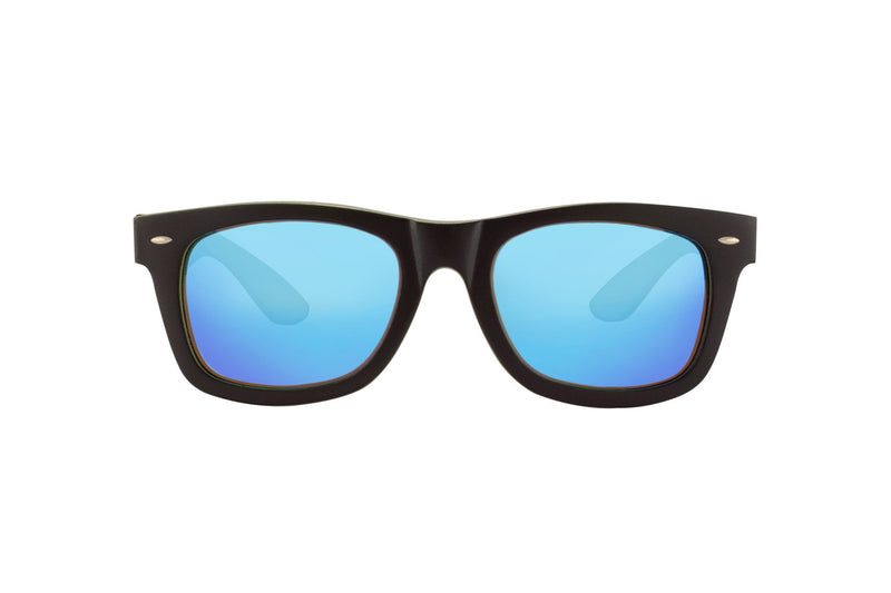 #191919 Black wood Sunglasses that float and have blue mirror polarized lenses