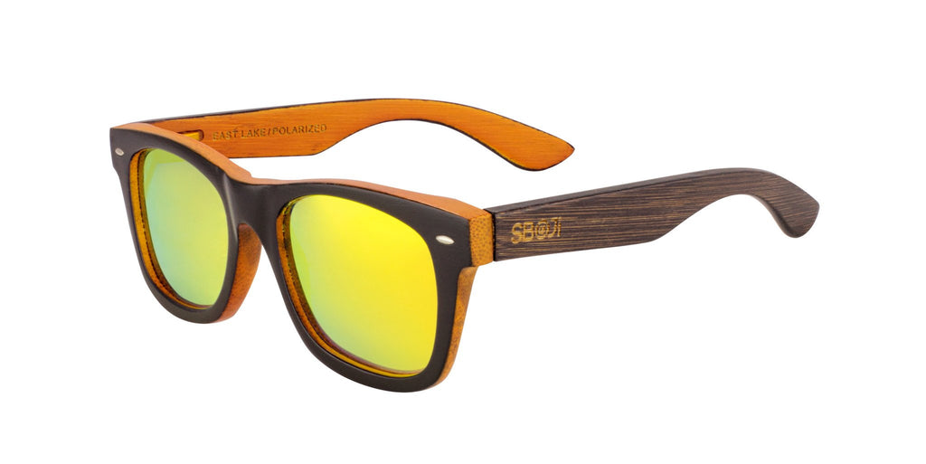 #191919 Bamboo Sunglasses that float and have orange polarized lenses