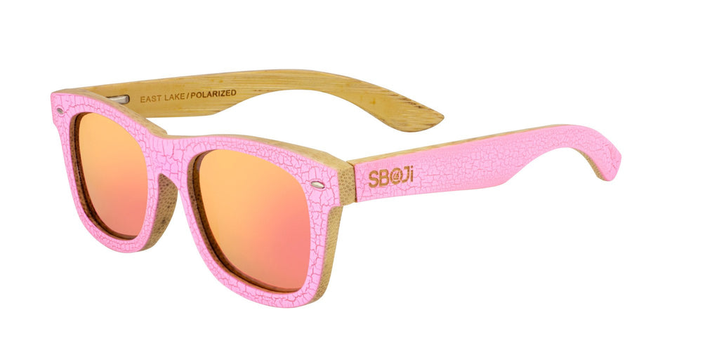 #ff00ff Pink wood Bamboo Sunglasses that float with pink mirror polarized lenses