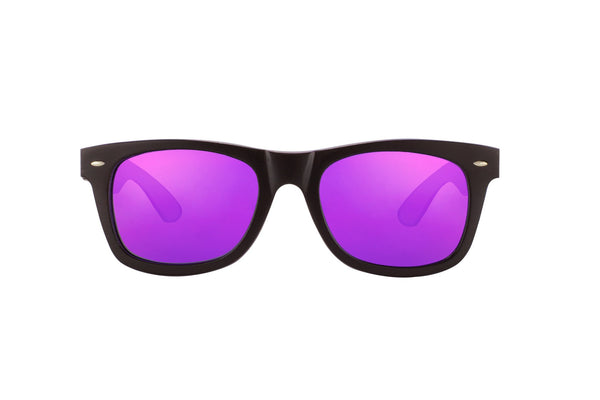 #191919 Black and purple Bamboo Sunglasses that float with purple mirror polarized lenses