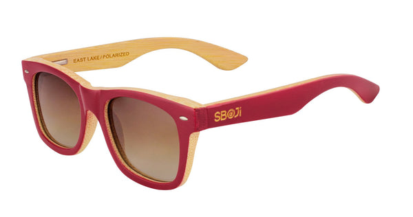 #ff0000 Red bamboo Sunglasses that float with polarized lenses