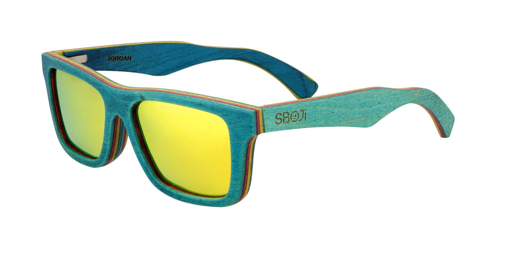 #0096ff blue wood sunglasses with yellow mirror