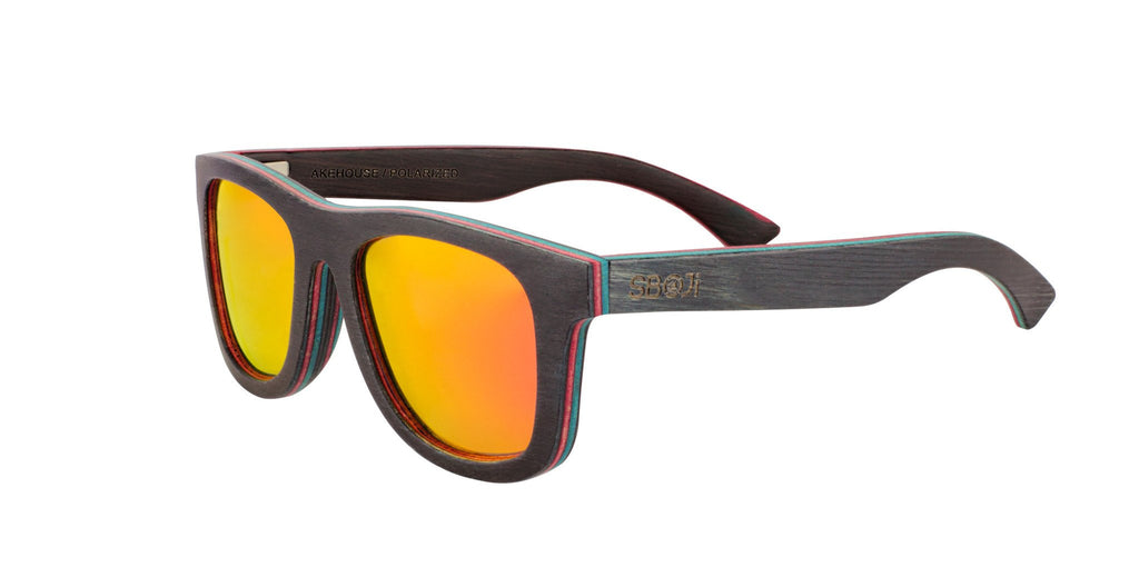 #191919 black sunglasses with orange mirror lens
