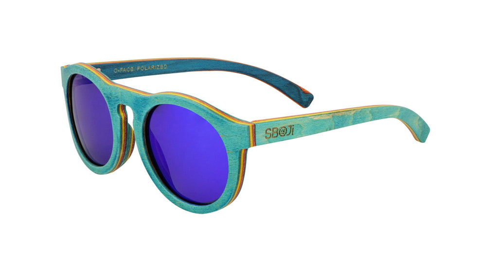 #0096ff blue skateboard wood sunglasses by SBOJi