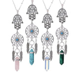 Natural Stone Dreamcatcher Hamsa Necklaces