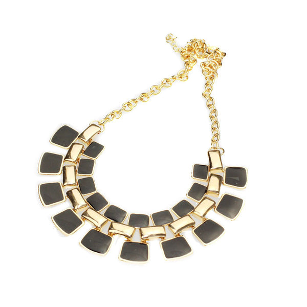 Alloy Enamel Square Pendant Link Chain Necklace - 3 Color Variants