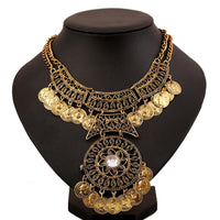 Bohemian Double Chain Coin Multilayer Necklace - Gold or Silver