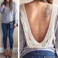 Backless Blouse Long Sleeve Casual