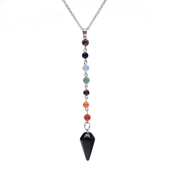 Natural 7 Stone Chakra Healing Necklace with Arrow Birthstone - Black Stone
