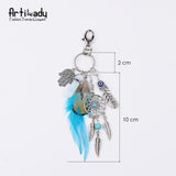 Natural Stone Feather Dreamcatcher Keychain